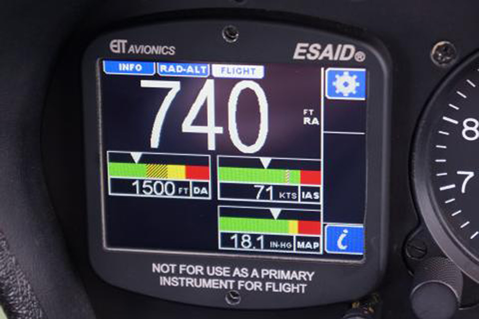 ESAID® is a multi-purpose, touchscreen instrument to increase pilot situational awareness. ESAID® reports local density altitude and calculated POH performance limitations twice per second.